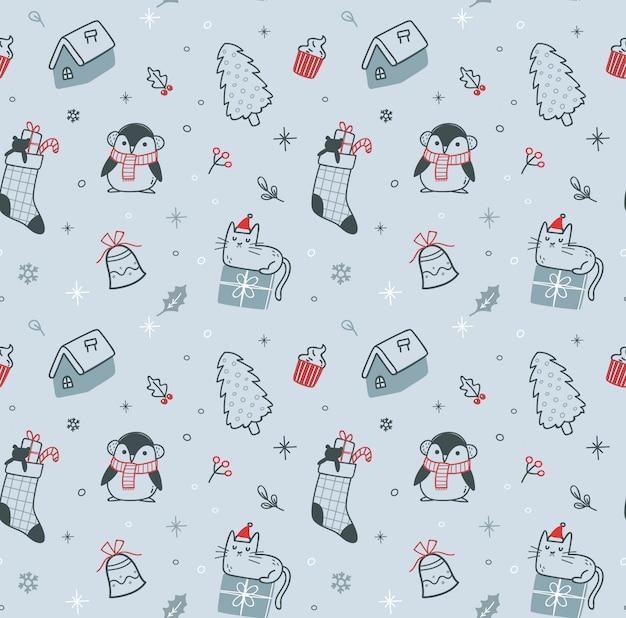 Boże Narodzenie Doodle Bez Szwu Premium Wektorów