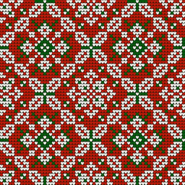 Boże narodzenie dziania babci wzór w kolorach czerwonym, zielonym i białym Premium Wektorów