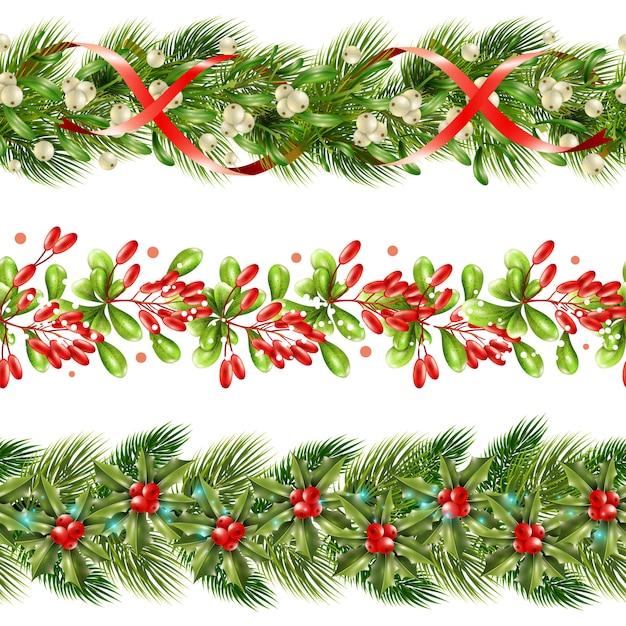 Boże Narodzenie Granicy Zestaw Bez Szwu Wzór Jagody Darmowych Wektorów