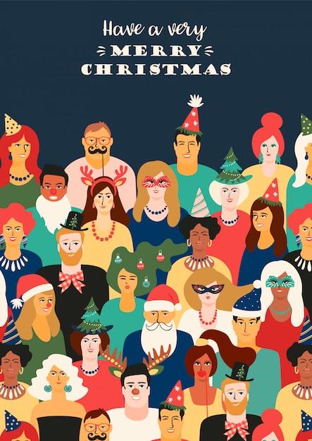 Boże narodzenie i szczęśliwego nowego roku ilustracja z ludźmi w kostiumach karnawałowych. Premium Wektorów