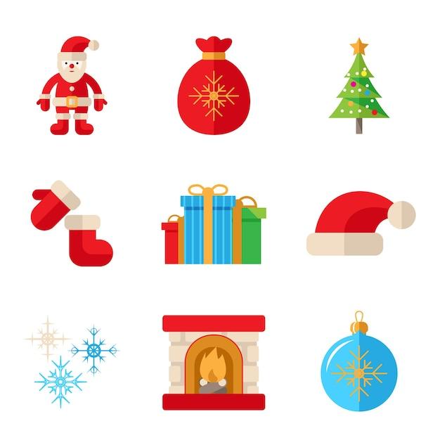 Boże Narodzenie Ikony W Płaski Na Białym Tle Darmowych Wektorów