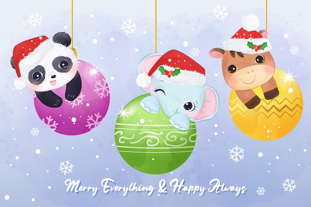 Boże Narodzenie Ilustracja Karty Z Pozdrowieniami Z Uroczych Zwierzątek Premium Wektorów