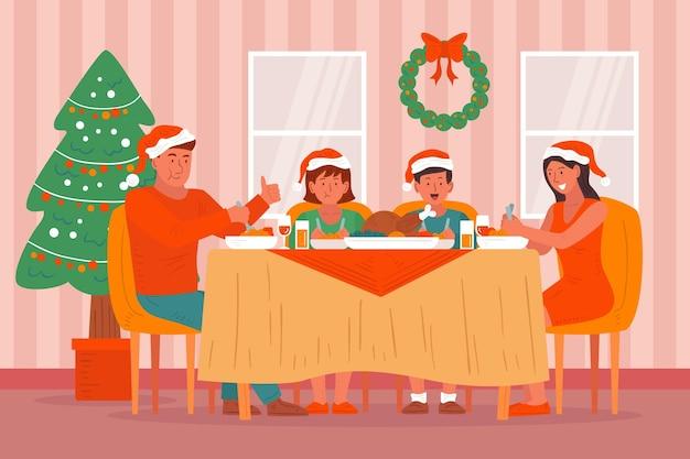Boże Narodzenie Ilustracja Scena Obiad Darmowych Wektorów