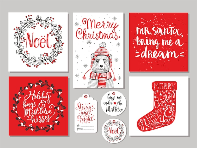 Boże Narodzenie Kartkę Z życzeniami I Zestaw Tagów Prezent Premium Wektorów