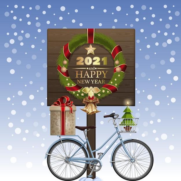 Boże Narodzenie Kartkę Z życzeniami. Wianek świąteczny I Rower Zimowy Z Pudełkiem I Choinką. Szczęśliwego Nowego Roku 2021. Ilustracja Wektorowa Premium Wektorów