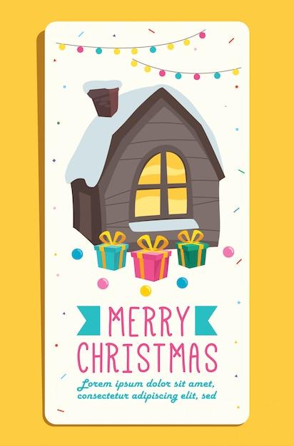 Boże Narodzenie Kartkę Z życzeniami Z Postaci Z Kreskówek Premium Wektorów