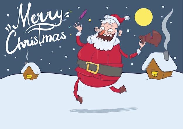 Boże Narodzenie Kartkę Z życzeniami Z Zabawnym Mikołajem W Zimowy Krajobraz Premium Wektorów