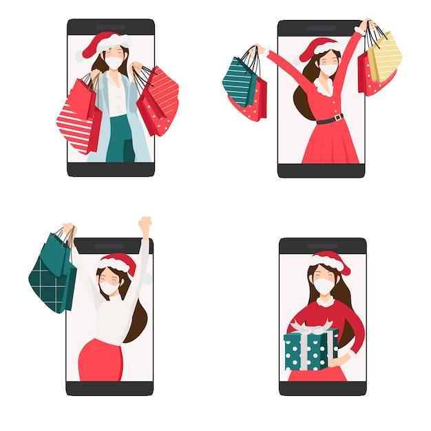 Boże Narodzenie Kobieta W Czerwonej I Zielonej Sukni Zakupy Online Według Kolekcji Telefonów Komórkowych Premium Wektorów