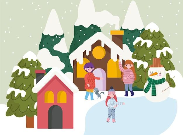 Boże Narodzenie Ludzie Wioska Bałwana Domy Drzewa Kreskówka śnieg, Czas Zimowy Premium Wektorów