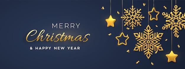 Boże Narodzenie Niebieskie Tło Z Wiszącymi Złotymi Płatkami śniegu I Gwiazdami. Wesołych świąt Bożego Narodzenia Kartkę Z życzeniami. Premium Wektorów