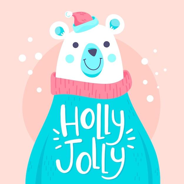 Boże narodzenie niedźwiedź polarny znak z napisem Darmowych Wektorów