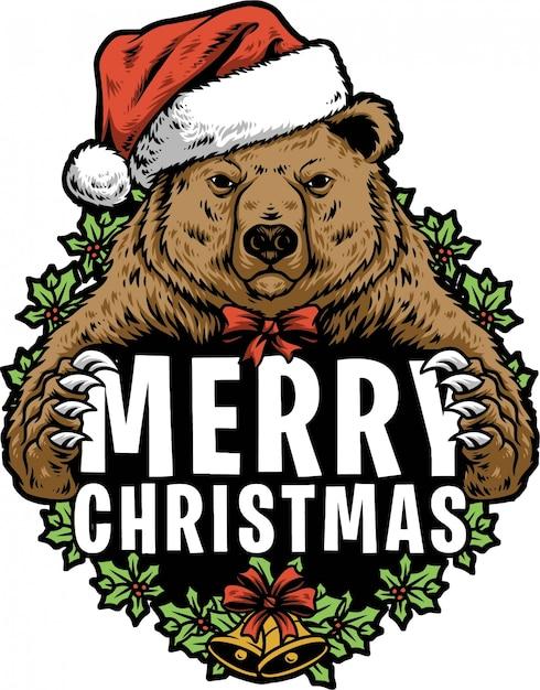 Boże Narodzenie Niedźwiedź Premium Wektorów