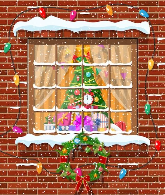 Boże Narodzenie Okno W Mur Z Cegły Premium Wektorów