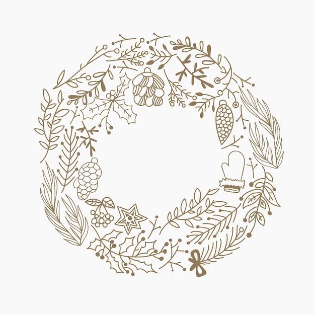 Boże Narodzenie Okrągłe Ramki Dekoracyjne Elementy Doodle Wykonane Z Liści I Symboli Wakacji Ręcznie Rysunek Ilustracja Darmowych Wektorów
