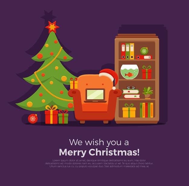 Boże Narodzenie Pokój Wnętrze W Kolorowy Kreskówka Płaski Premium Wektorów