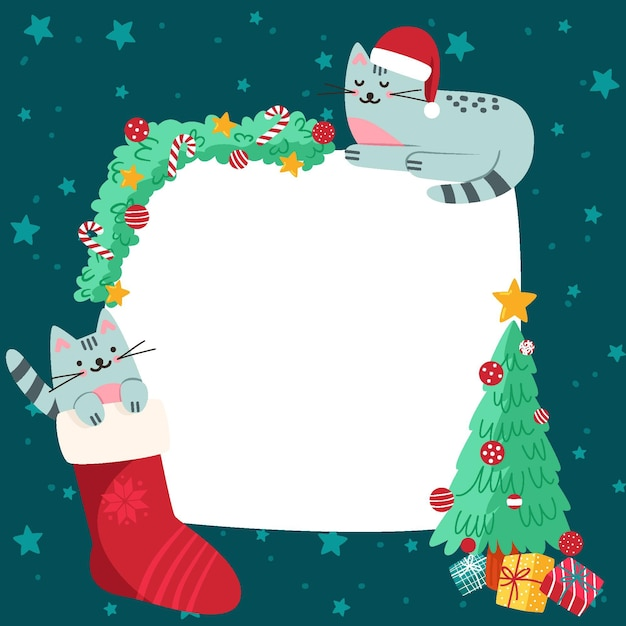 Boże Narodzenie Pusty Transparent Z Kotami Darmowych Wektorów