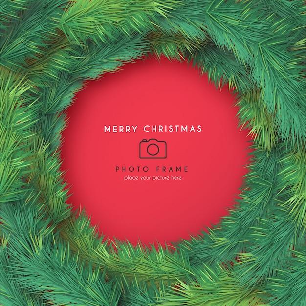 Boże Narodzenie Ramka Na Zdjęcia Z Realistycznymi Gałęziami Darmowych Wektorów
