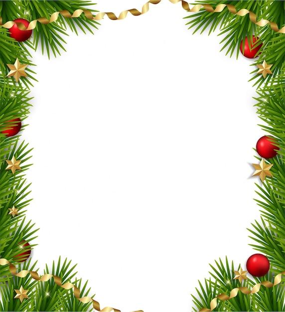 Boże Narodzenie Ramki Z Gałęzi Jodłowych Premium Wektorów