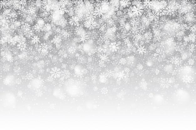 Boże Narodzenie Realistyczny Efekt Padającego śniegu Z Nakładką Białe Płatki śniegu Na Jasnym Srebrnym Tle Premium Wektorów