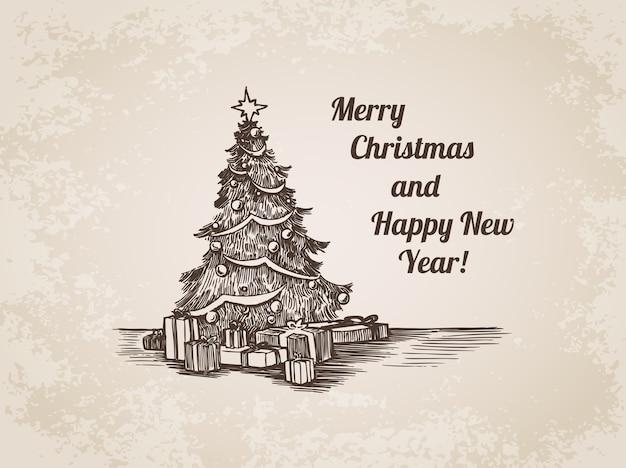 Boże Narodzenie Ręcznie Rysowane Ilustracja Grawerowanie Darmowych Wektorów