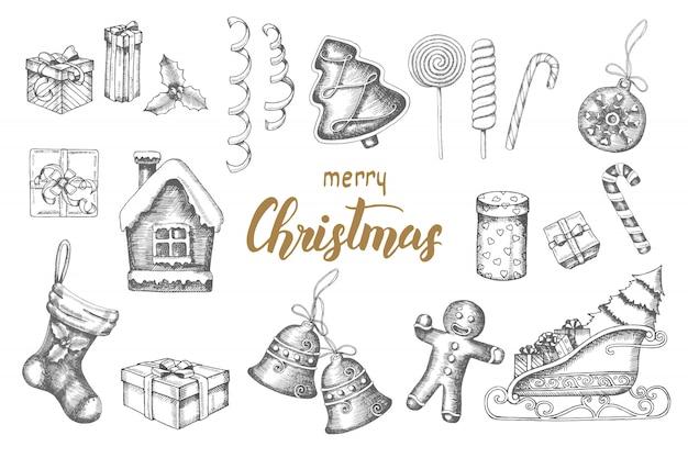 Boże narodzenie ręcznie rysowane obiekty doodle zestaw. pierniki, lizaki, prezenty, dzwonki, serpentyna, sanie świętego mikołaja, skarpeta Premium Wektorów
