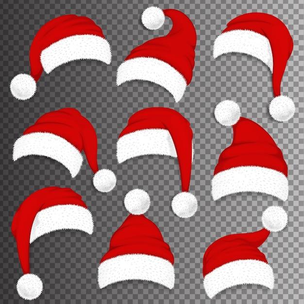 Boże Narodzenie Santa Claus Czerwone Czapki Z Cieniem Na Przezroczystym Tle. Ilustracja Premium Wektorów