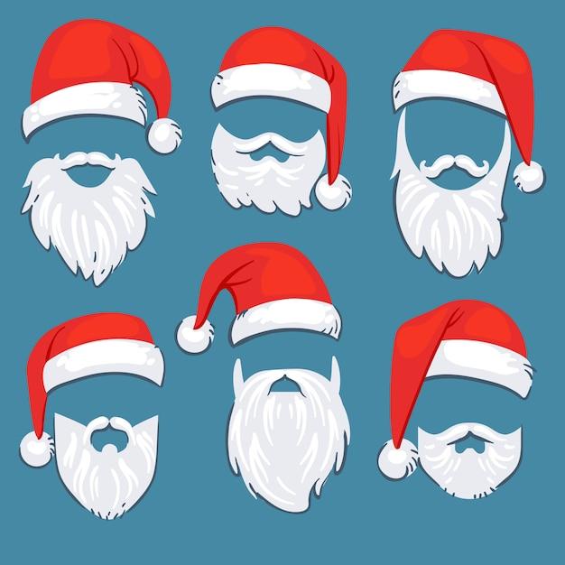 Boże Narodzenie Santa Claus Czerwone Kapelusze Z Białym Wąsy I Brody Wektor Zestaw. Santa Claus Maska Z Brodą Dla Xmas Wakacje Ilustraci Premium Wektorów