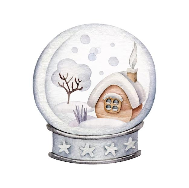 Boże Narodzenie Snowglobe Z śnieżnym Domem. Zimowy Krajobraz. Premium Wektorów