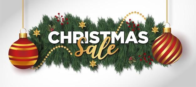 Boże Narodzenie Sprzedaż Tło Z Realistycznymi Dekoracjami świątecznymi Darmowych Wektorów