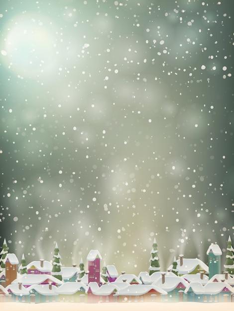 Boże Narodzenie światła, Wieś I Płatki śniegu Tło Premium Wektorów