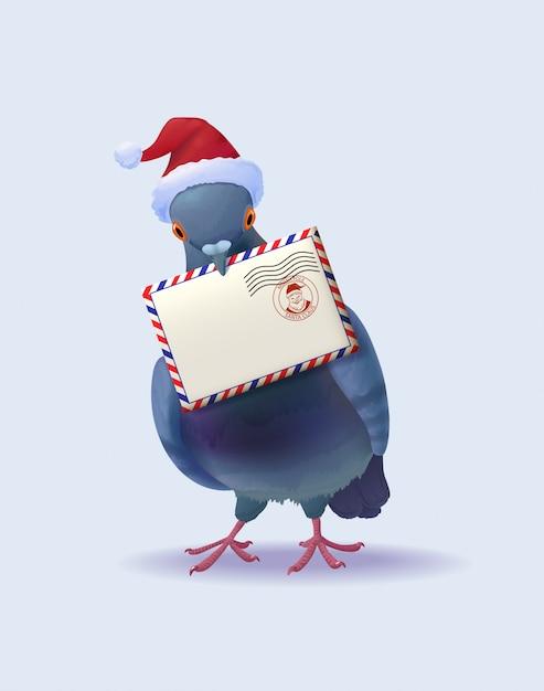 Boże Narodzenie święty Mikołaj Post Gołąb Darmowych Wektorów
