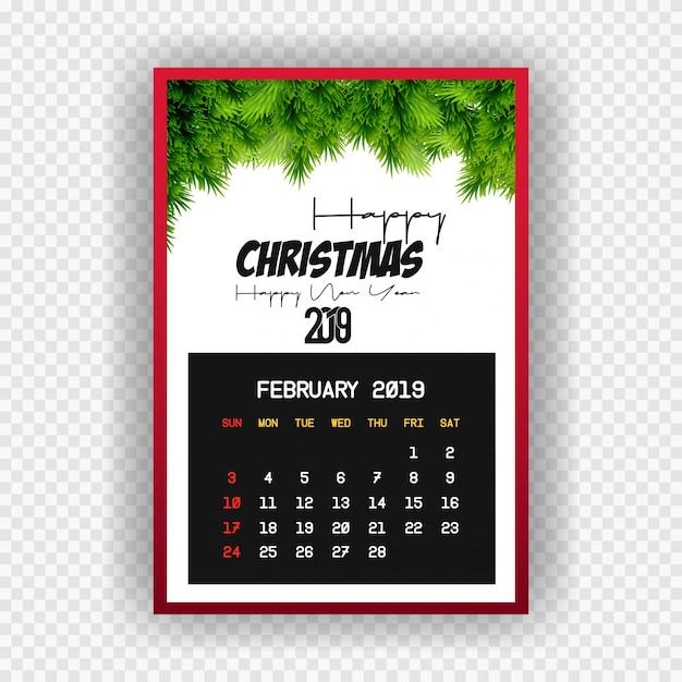 Boże narodzenie szczęśliwego nowego roku 2019 kalendarz lutego Darmowych Wektorów