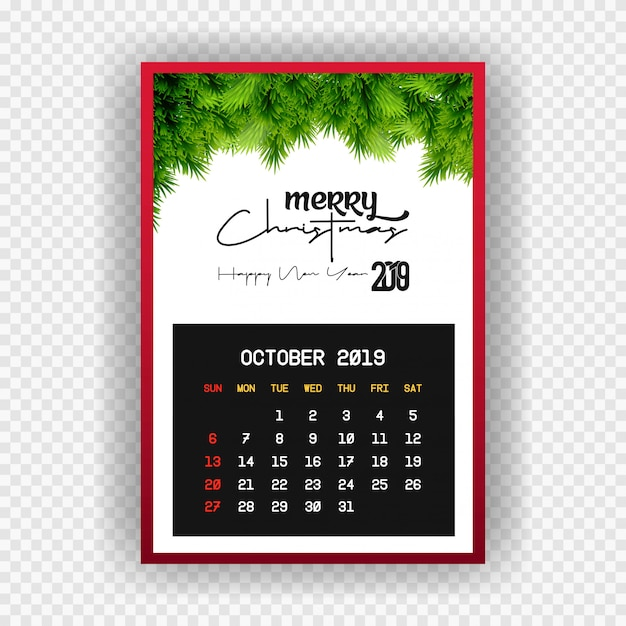 Boże narodzenie szczęśliwego nowego roku 2019 kalendarz października Darmowych Wektorów