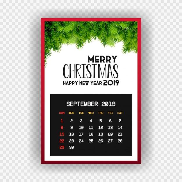 Boże narodzenie szczęśliwego nowego roku 2019 kalendarz września Darmowych Wektorów