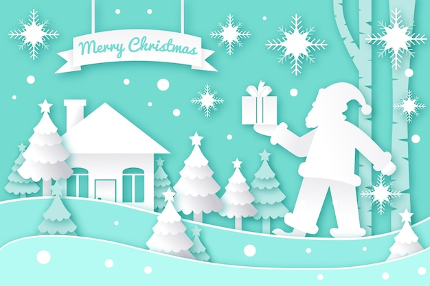 Boże Narodzenie Tło W Stylu Papieru Darmowych Wektorów
