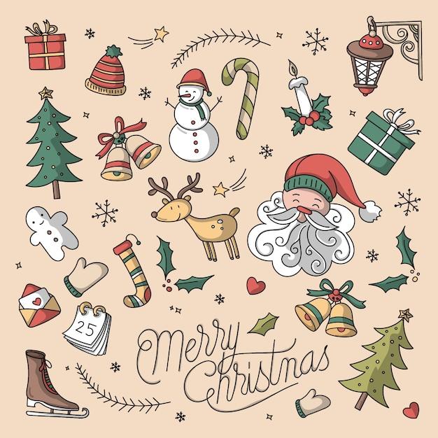 Boże Narodzenie Tło Z Ręcznie Rysowane Elementy Premium Wektorów