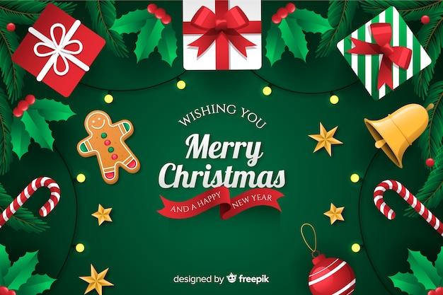 Boże Narodzenie Tło Z Stylu Płaska Konstrukcja Prezentów Darmowych Wektorów