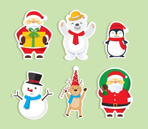 Boże Narodzenie Tło Z Zestawem Santa Claus Merry And Christmas Premium Wektorów