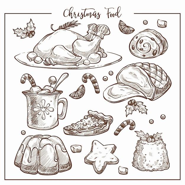 Boże Narodzenie Tradycyjny Obiad Menu Szkic Ilustracji Zestaw Potraw. Premium Wektorów