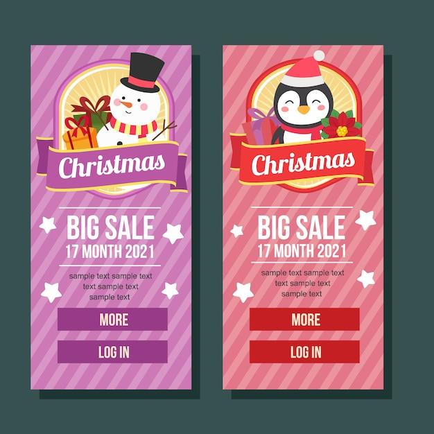 Boże Narodzenie Transparent Pionowe Słodkie Postacie Premium Wektorów