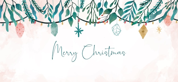 Boże Narodzenie Transparent Z Zimowymi Liśćmi Darmowych Wektorów