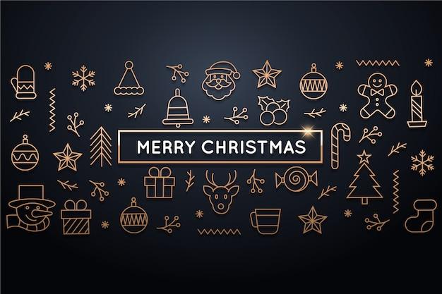 Boże Narodzenie W Stylu Konspektu Premium Wektorów