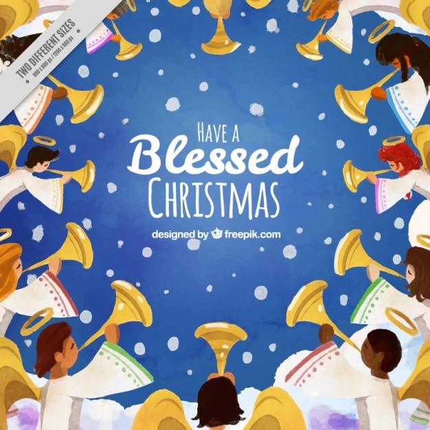 Boże Narodzenie W Tle Z Aniołem Darmowych Wektorów
