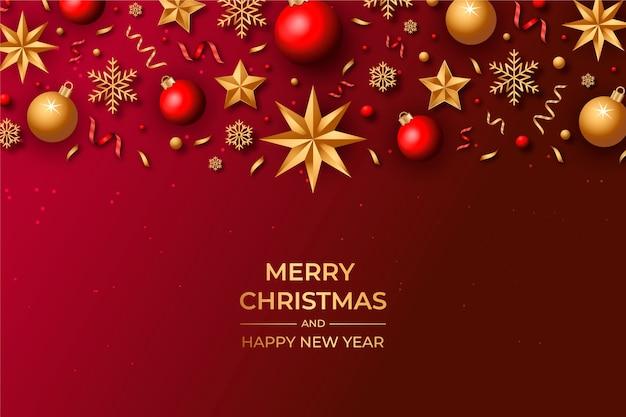 Boże Narodzenie W Tle Z Realistyczną Dekoracją Darmowych Wektorów