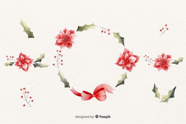 Boże narodzenie wieniec kwiatowy w akwarela Darmowych Wektorów