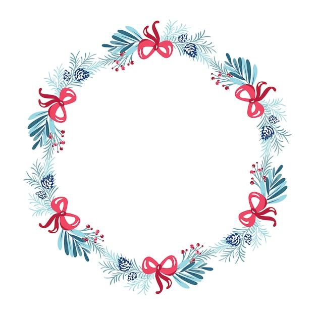 Boże Narodzenie Wieniec Z Ramą Kwiat Bukiet Premium Wektorów