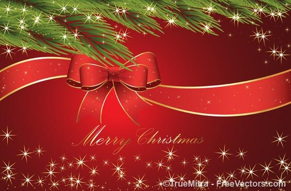 Boże Narodzenie Wstążka Z Oddziałów Darmowych Wektorów