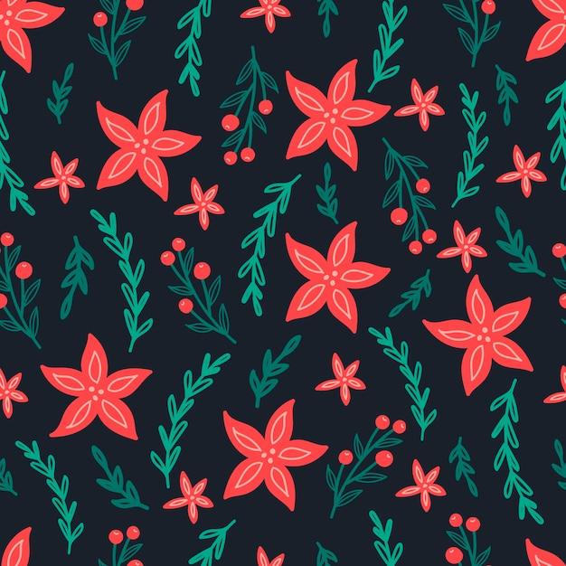 Boże Narodzenie Wzór Na Czarnym Tle Z Poinsettia Kwiaty, Gałęzie Sosnowe I Jagody. Tło Premium Wektorów