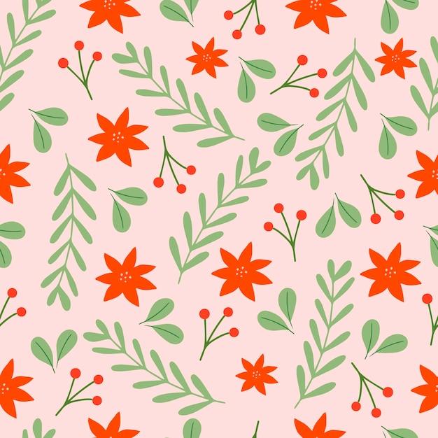 Boże Narodzenie Wzór Na Różowym Tle Z Poinsettia Kwiaty, Gałęzie Sosnowe I Jagody. Tło Premium Wektorów