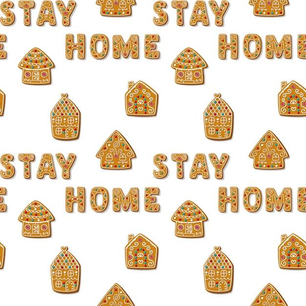 Boże Narodzenie Wzór Z Domków Z Piernika I Frazy Stay Home Homemade Cookies Premium Wektorów